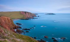 Clifftops above Ayrmer Cove, looking towards Burgh Island, Devon