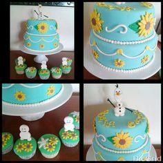 Frozen fever cake Frozen Fever Cake, Festa Frozen Fever, Disney Frozen Cake, Disney Frozen Birthday, Frozen Party, Bolo Frozen, Birthday Cale, Baby Girl Birthday Theme, Geek Birthday