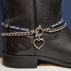 Double Strand Boot Bracelet with sapphire blue crystal, fire polished Czech glass and silver and black glass beads. Custom made to fit any style of boot in your favorite color! Boot Jewelry, Anklet Jewelry, Leather Jewelry, Anklets, Stone Jewelry, Western Jewelry, Beaded Jewelry, Boot Bling, Cowgirl Bling