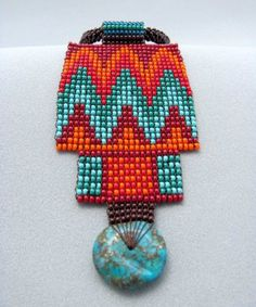Seed Beaded Necklace, Turquoise stone Healing Necklace, Indian Jewelry, Art  Beadwork Jewelry.