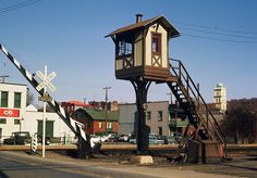 Pennsylvania Railroad property in Huntingdon during October of 1965. Shown here is the PRR's Crossing Gate Tower that protects the grade crossing for State Route 26