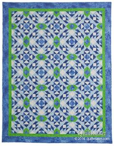 Whirlpools Quilt Kit: Refreshing shades of blue and green shimmer and swirl in this intricate quilt designed by Janice Averill.