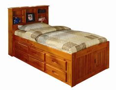 Discovery World Furniture Honey Twin captains bed with bookcase headboard. Marty's new big boy bed!