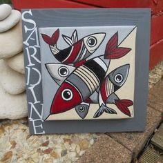 tableau les poissons amoureux tableau de poissons poissons peints et cadre en bois. Black Bedroom Furniture Sets. Home Design Ideas