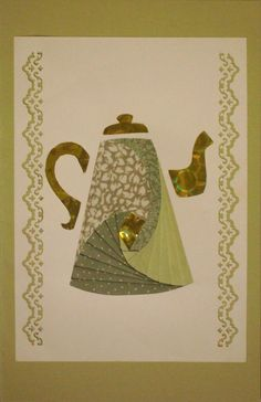 Iris Folding Teapot Greeting Card by Soferis on Etsy, $3.50