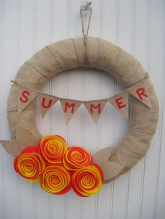Burlap+Summer+Wreath++Deep+Coral+&+Yellow+Roses+by+ATPitman,+$35.00
