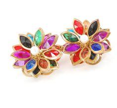 Vintage Earrings MultiColored Crystal by AVintageJewelryChest, $26.00