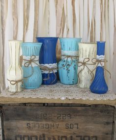 Vases,Hand Painted Flower Vases, upcycled flower vases, Rustic wedding centerpieces, Dark Blue, Robins Egg Blue And creme Baby Shower