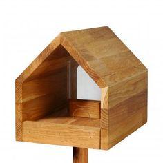Vogelfutterhaus aus Eichenholz mit Satteldach inkl. Ständer | design3000.de