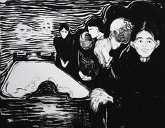 Prints by Edvard Munch  By the Deathbed, 1896, lithograph