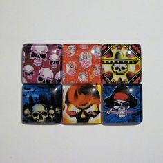 6 Skull Print Glass Domes set 2 30mm Perfect for by NippedAndCut, $7.25