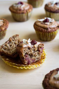 Cherry Lemon Almond Meal Muffins with Cashew Cream Frosting | edible perspective