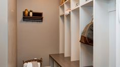 This mud room had individual cubbies that are perfect for organizing a normally messy room.