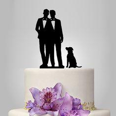 Topper gâteau de gay pour mariage, même topper de gâteau de sex avec chien, unique wedding cake topper gay silhouette pour cadeau hommes palefreniers topper
