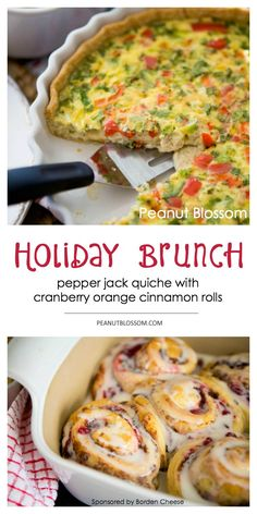 Holiday Brunch: Pepper jack quiche with cranberry orange cinnamon rolls. Perfect for using up your Thanksgiving leftovers! Diced turkey goes in the quiche and cranberry sauce for the rolls. Spicy and sweet, the perfect holiday pair. Love this idea for Christmas morning breakfast.