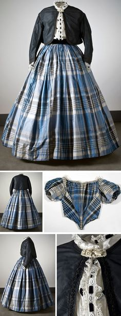 Silk dress--Zouave jacket, bodice, skirt, and alternate bodice. Photo: Mats…