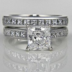 Princess Cut Channel Accented Wedding Ring Set in SOLID 14K Gold