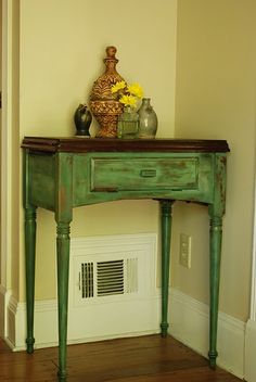 Find and refinish old end table for bedroom.