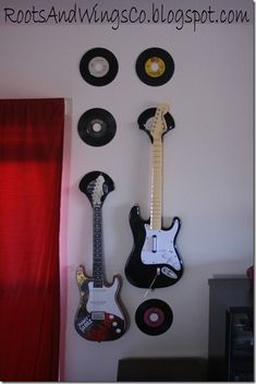 vinyl record guitar holder made of old 45 records melted in oven.