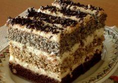Ez is inkább klasszikus sütemény, de kifejezetten finom és látványos. 3 lapból áll, az egyik kakaós, a második diós, a 3. mákos, ezek pedi... Hungarian Desserts, Hungarian Recipes, Hungarian Cake, Cookie Desserts, No Bake Desserts, Cookie Recipes, Dessert Recipes, Streusel Coffee Cake, Fried Ice Cream