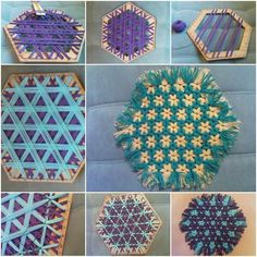 Looking for a way to dress up your table or add a bit of color? Check out this hand woven lap weave coaster. If you can not find such a hexagon, you can also use a square and a few nails, transformed into a hexagonal as below.