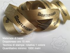 Nastro personalizzato doppio raso oro 15 mm. stampa in rotativa.