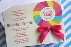 """Karla Listing 30 Lolli Bow CandyLand Invitations with white 5 x 7"""" envelopes and satin bows 1.33 each"""