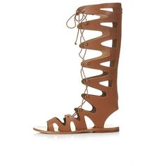 TOPSHOP FIGTREE Gladiator Sandals (59 CAD) ❤ liked on Polyvore featuring shoes, sandals, tan, leather sandals, gladiator sandals, lace up sandals, lace up shoes and roman sandals
