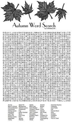 Autumn Word Search Printable