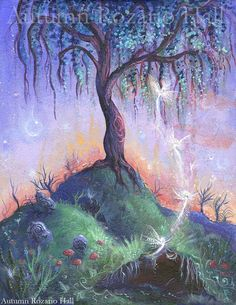 """The Faerie Hill, Original fairy tree painting ~This painting is inspired by the wild places, and every girl who dares to dance at twilight. Fairies have long been said to dwell in hollow hills. This painting captures the moment between time, as day fades to night. The faeries can be glimpsed emerging from the earth. The Faerie Hill is is available as either a 5x7"""" or 8x10"""" print. 5x7"""" $5.00 8x10"""" $12.00"""