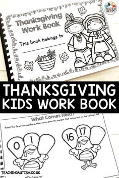 Are you looking for worksheets to use this Thanksgiving with your kindergarten and first grade students? If so, this Thanksgiving work book is perfect to add to your math and literacy activities. Literacy Skills, Literacy Activities, Literacy Stations, Math Games, Teacher Resources, Thanksgiving Classroom Activities, Autumn Activities For Kids, Kindergarten Lesson Plans, Teaching Kindergarten