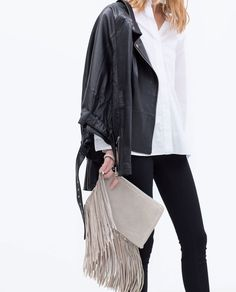 ZARA - SHOES & BAGS - LEATHER CLUTCH WITH FRINGES