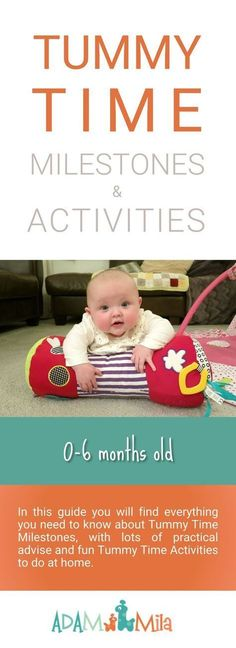 Tummy Time Activities for Infants. Fun play ideas and child development tips, including all the tummy time milestones from newborn to 6 months old baby.