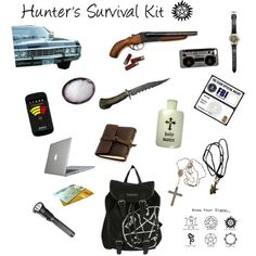 Hunter's Survival Kit - Inspired by Supernatural by giuliarigamonti on Polyvore featuring polyvore and art
