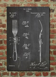 Fork Patent 1884 Wall Art Poster by PatentPrints on Etsy