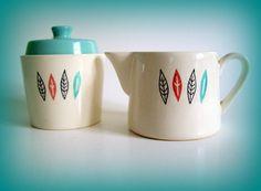 Mid Century Modern Vintage Ceramic Sugar and Creamer Turquoise Orange Black on White