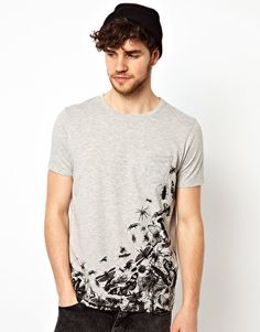 """T-Shirt with Insect Print  Contrast Pocket  I don't see a """"contrast"""" pocket, so maybe add a pop of bright blue at the pocket's edge?"""