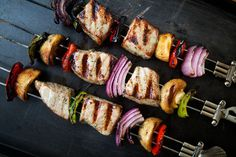 Get your grill on with tuna kabobs, skewers of marinated fresh tuna, onions, bell peppers, and mushrooms.