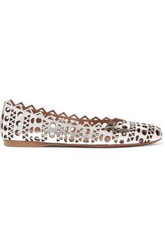 Alaïa's metallic ballet flats are a chic yet comfortable alternative to heels. They're crafted from silver leather and detailed with the house's geometric laser-cut perforations. Try yours with cuffed jeans.