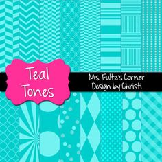 Digital Papers: Teal Tones in a variety of tonal patterns including chevron, polka dots, quarter foil, plaid, and more
