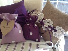 Ring cushions and favour bags to match a purple theme. Contact CliffsCushions@gmail.com Wedding Bunting, Purple Themes, Cushion Ring, Favors, Reusable Tote Bags, Cushions, Decorations, Bride, How To Make