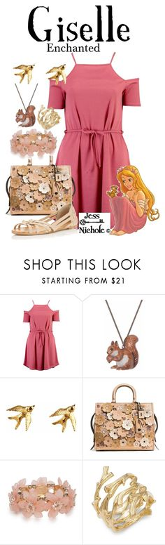 """Giselle"" by jess-nichole ❤ liked on Polyvore featuring Boohoo, And Mary, Roz Buehrlen, Disney, Coach 1941, New Directions, Michael Aram and Miss Selfridge"