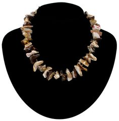 Natural Brown Mother Of Pearl Beaded Necklace by KensieKitsch