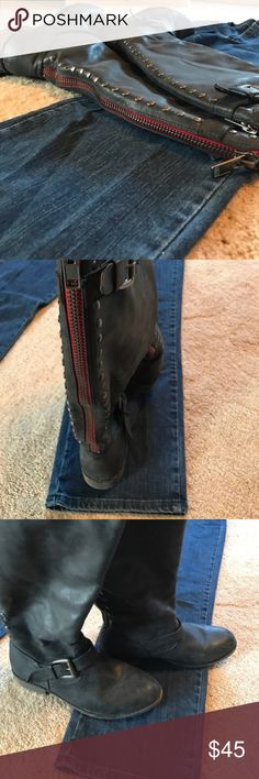 Madden Girl Cactuss Boots Madden Girl Cactuss Blk/Grey boots with red zipper..This boot is cute and an easy fit. The calf has a built in expander. The red zipper runs the length of the back of the boot with studs on either side. All man made materials and shows normal wear. Madden Girl Shoes Winter & Rain Boots
