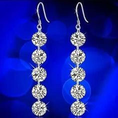 2016 new arrival super shiny big zircon fashion 925 sterling silver female drop earrings factory price