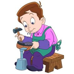 Cartoon shoemaker or cobbler. Design for children's coloring book.