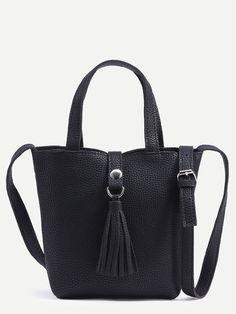 Black Tassel Strap Closure Satchel Bag