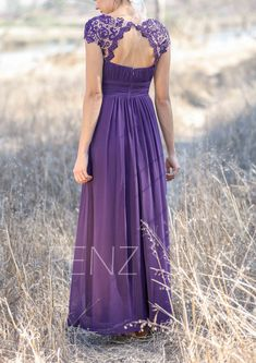 2016 Dark Purple Bridesmaid dress Lace, Illusion Wedding dress, Long Chiffon…