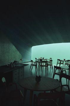 Oslo-based firm Snøhetta have completed Europe's first ever underwater restaurant in Norway, appropriately named 'Under'. Design Hotel, Restaurant Design, Restaurant Ideas, Oak Cladding, Sea Storm, Kristiansand, Figurative Kunst, Marine Environment, Concrete Wall