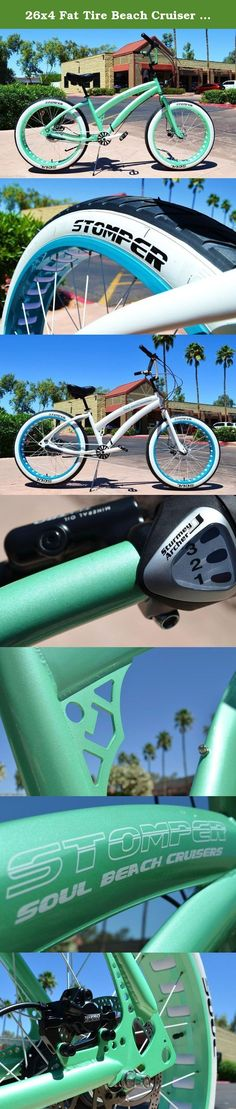 26x4 Fat Tire Beach Cruiser Bike - SOUL MISS STOMPER - MINT GREEN 3 speed ladies. RADICAL FAT TIRE SOUL BEACH BEACH CRUISER No other brands can come close to our design and premium components We're the best in the business for a reason. T H E S O U L S T O M P E R ONE OF KIND METALLIC MINT FRAME - FORK - HANDLEBARS - RIMS WHITE 4130 CHROMOLY BMX CRANKS - REAR HYDRAULIC DISC BRAKES. WHITE WALLS - WHITE CHAINS- WHITE SPOKES THE SOUL STOMPER IS A PERFORMANCE FAT TIRE BEACH CRUISER. HI END...